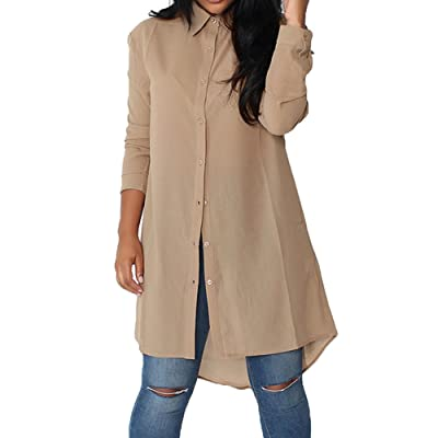 Hibote Chemise Longue Pour Femme Mode Casual Loose Mousseline de Soie  Tunique à Manches Longue Mini Robe Couleur Unie Loisir Blouse Shirt Chemise  avec ... 50d5d6f29fdd