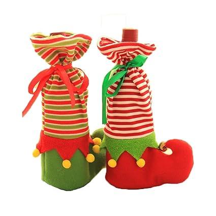Calcetines 2pcs Productos de Navidad Conjuntos de vino tinto Calcetines de elfo de campana Bolsas de