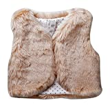 Sweety Baby Girls' Pink Brown Or Peach Faux Fur 1 Button Round Hem Waistcoat, Beige 3M