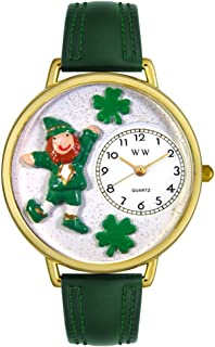 product image for Whimsical Watches Unisex G1220023 St. Patrick's Day Leprechaun Hunter Green Leather Watch