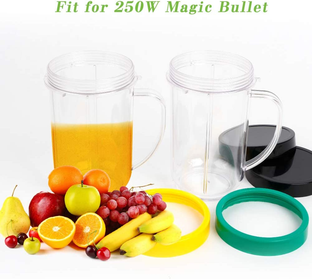 16OZ Replacement Cups for Magic Bullet, UHAPEER 6Pcs/Set Parts Compatible with 250W Magic Bullet Blender MB1001, Include 16oz Mug Cups with Handle, Stay Fresh Lids, Colored Lips Rings