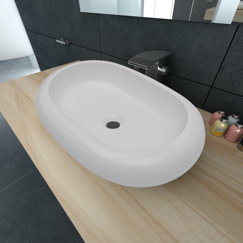 Luxury Ceramic Basin Oval-Shaped Sink White Bathroom Sink Wash Basin Practical Vessel for Everyday Use