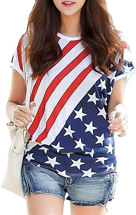 d3aa7823fcccc POPTEM American Flag Pattern Round Neck Short Sleeve T-Shirt Stars Stripes  Cold Shoulder Tops