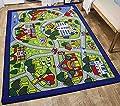 LA Rug Linens 8x10 Kids Boys Children Toddler Playroom Rug Nursery Room Rug Bedroom Rug Fun Colorful (Green City Map)