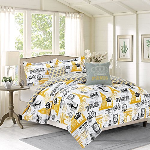 Royal Vintage Imagery Design Bedding Comforter Bed Set Paris Eiffel Tower London, 4 Piece Twin Size Set, Yellow