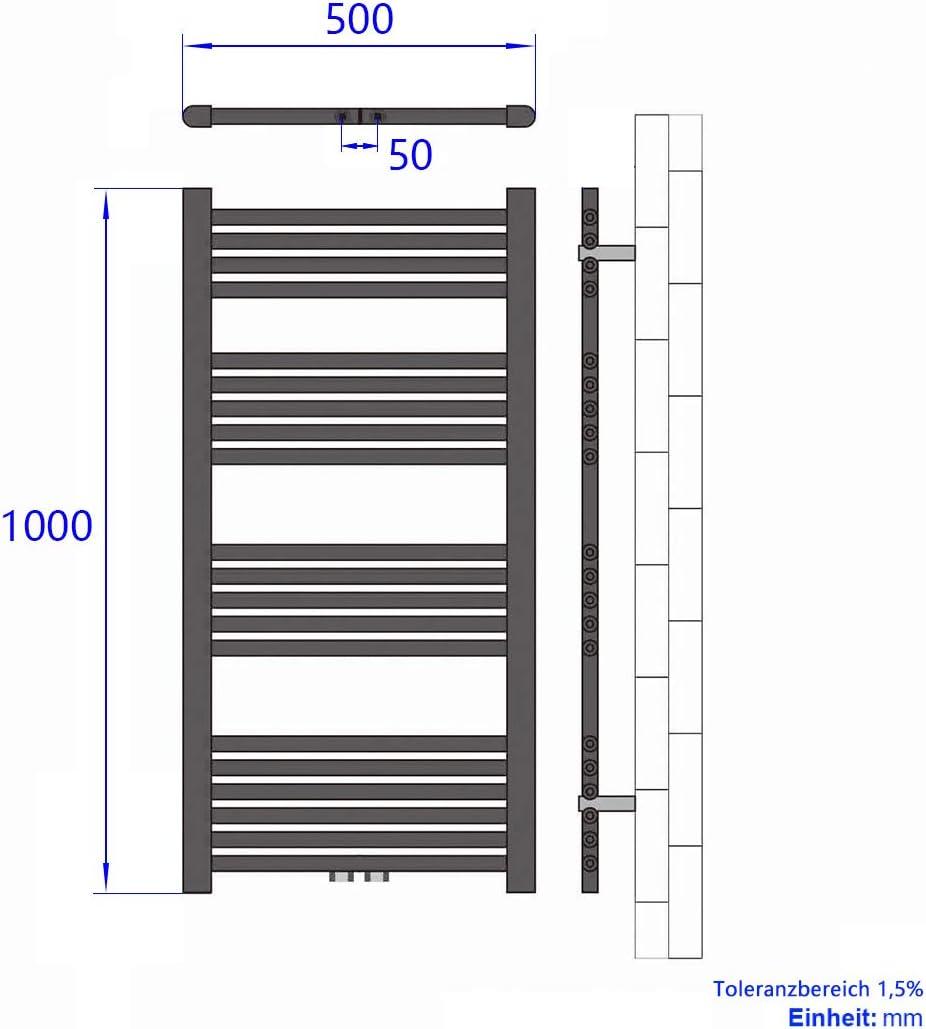 Meykoers Badheizk/örper 1600x500mm Handtuchtrockner Heizk/örper 851 Watt Wei/ß Bad Mittelanschluss Handtuchw/ärmer Heizung Radiator