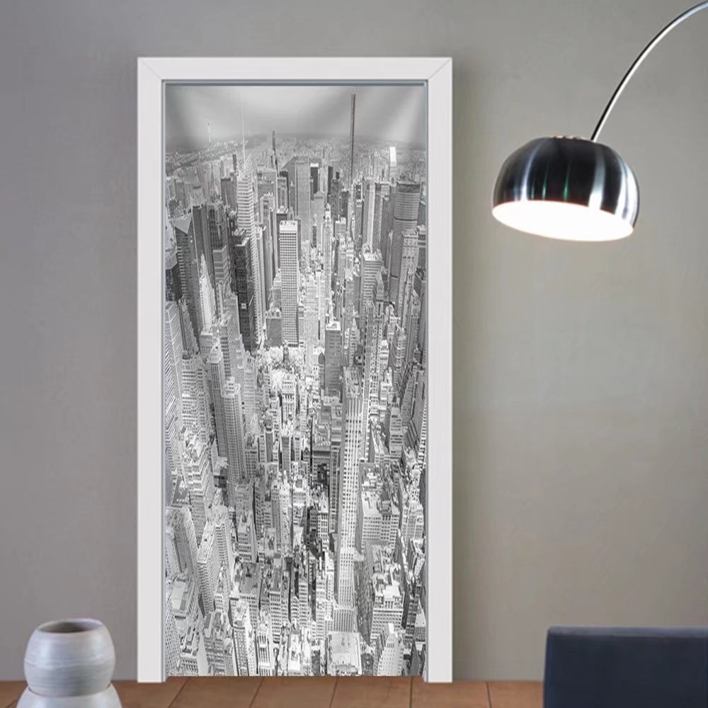 Gzhihine custom made 3d door stickers Black and White Toned Aerial View of Manhattan New York City Usa. Fabric Home Decor For Room Decor 30x79