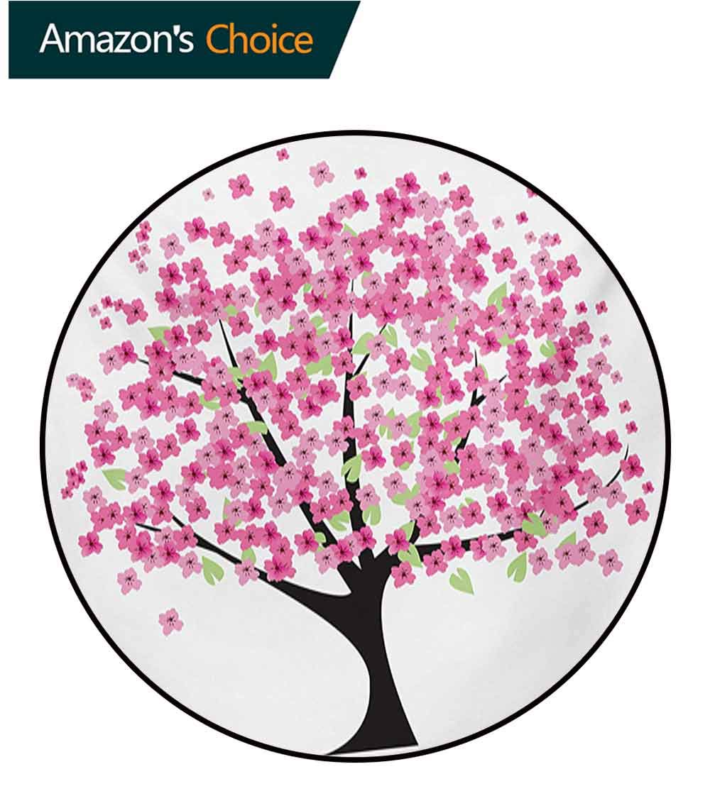 RUGSMAT Nature Computer Chair Floor Mat,Cherry Blossom Lonely Tree Asian Japanese Gardening Theme Sakura Blossoms Printed Round Carpet for Children Bedroom Play Tent,Diameter-71 Inch by RUGSMAT (Image #2)