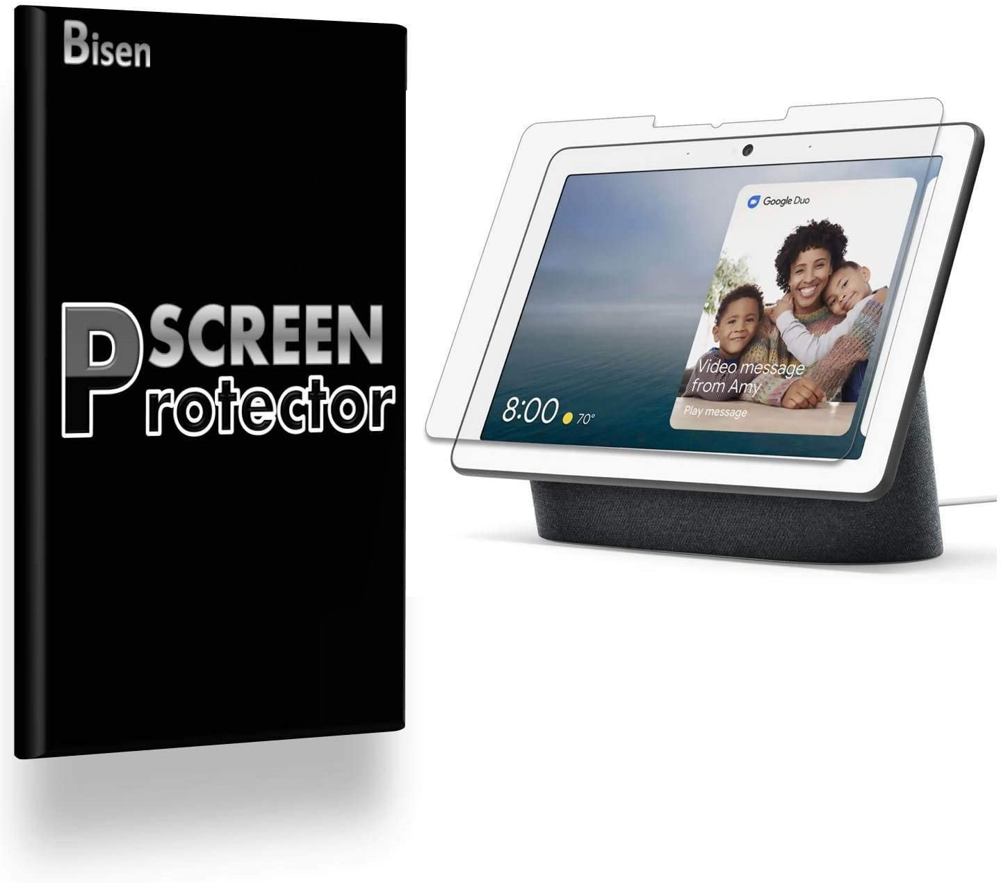 [4-Pack BISEN] Fit for Google Nest Hub Max Screen Protector, HD Clear, Anti-Scratch, Anti-Bubble, Lifetime Protection