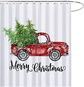 MAEZAP Christmas Farmhouse Truck Shower Curtain Green Tree Bathroom Decor Waterproof Polyester with Hooks 69x70 Inchs