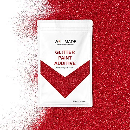 Wellmade Glitter Paint Additive for Wall Paint-Interior/Exterior Wall, Ceiling, Wood, Metal, Varnish, Dead Flat, DIY Art and Craft 150g/5.3oz (150g/1bag, Red) -