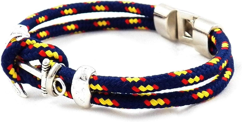 21 cm AKIEE Pulsera Ancla para Hombre o Mujer Bandera Espa/ña con Cuerda Azul