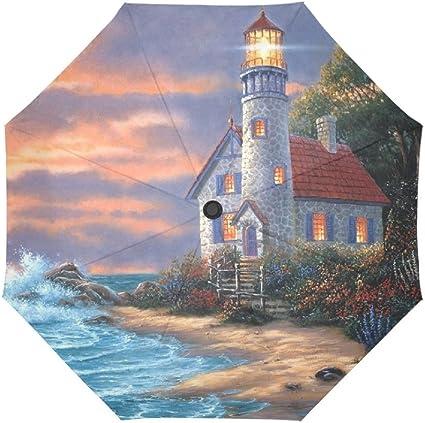 Design With Lighthouse Pattern Windproof Rainproof Automatic Foldable Umbrella,Travel Umbrella Compact Sun//Rain Hot-selling
