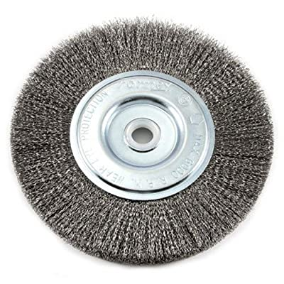 Forney 72747 Wire Bench Wheel Brush, Fine Crimped with 1/2-Inch and 5/8-Inch Arbor, 6-Inch-by-.008-Inch from Forney