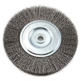 Forney 72747 Wire Bench Wheel Brush, Fine Crimped with 1/2-Inch and 5/8-Inch Arbor, 6-Inch by .008-Inch