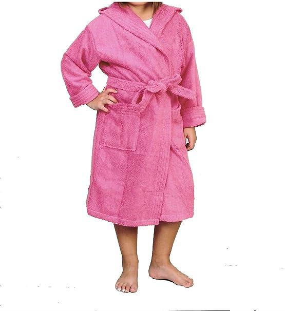 Albornoz Infantil, Rizo, 100% algodón, Fucsia. (6): Amazon.es: Hogar