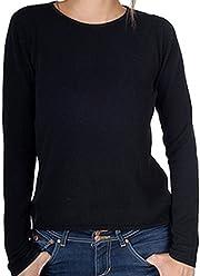 6a7139a8cd748f Balldiri 100% Cashmere Kaschmir Damen Pullover Rundhals 2-fädig schwarz