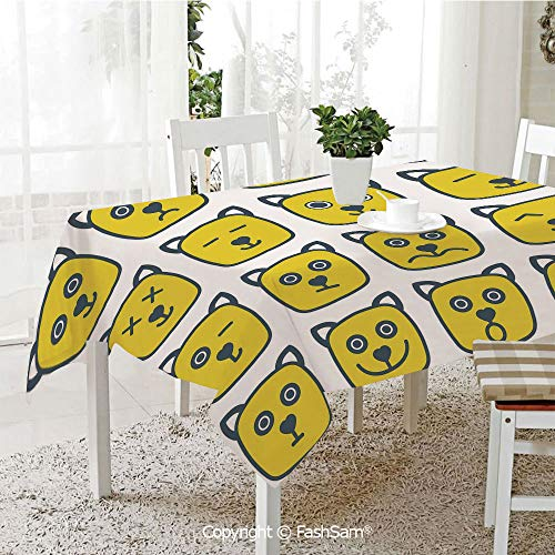 Party Decorations Tablecloth Cat Dog Like Animal Smiley Face with Expressions Angry Happy Sad Fancy Moods Art Resistant Table Toppers (W60 xL84) -