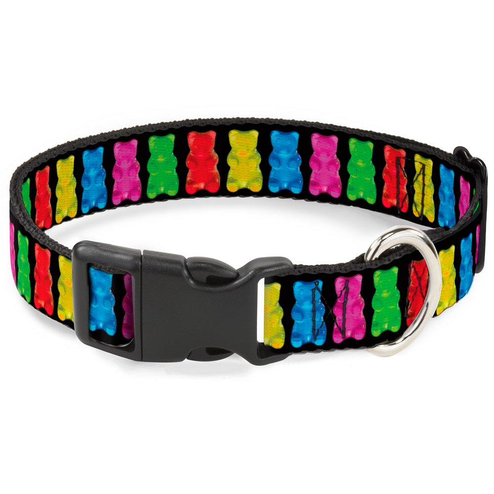Gummy Bears Black Multicolor 1\ Gummy Bears Black Multicolor 1\ Buckle-Down PC-W30742-M Dog Collar Plastic Clip Buckle, Gummy Bears Black Multicolor, 1 x 11-17