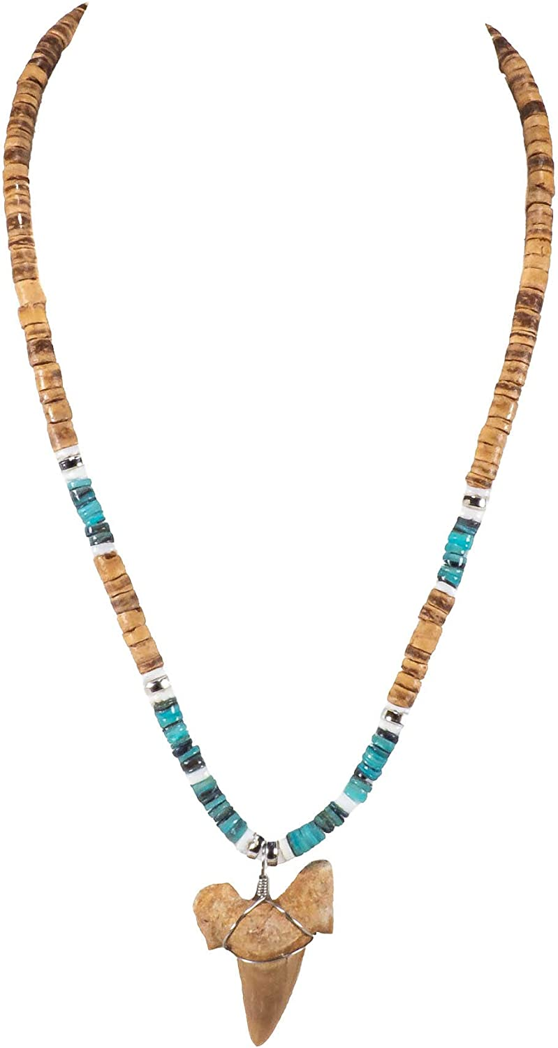 BlueRica Shark Tooth Pendant on Tiger Coconut Beads & Green Heishi Shell Beads Necklace (3S)