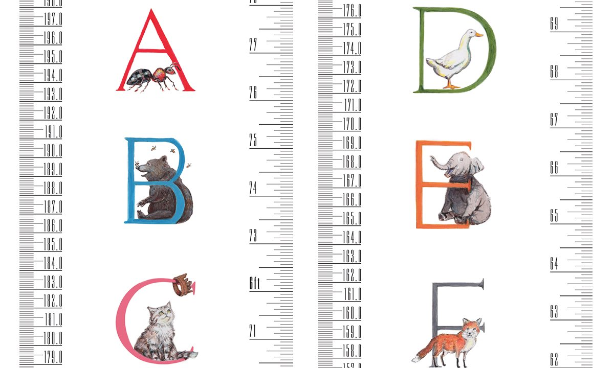 Roll-up Height Chart Plus 1 Sharpie Marker Pen to Measure Children from Birth TALLTAPE a Memento for Life Choice of 10 Designs Large Tall Tape, Animal Alphabet Portable