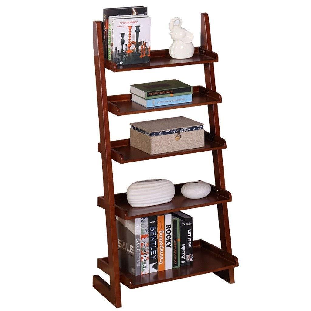 TIAN 5-Layer Household Solid Wood Bookshelf Racks Floor Simple Wall Shelf Bookshelf Shelves Storage Lockers (Color : Brown) by TIAN