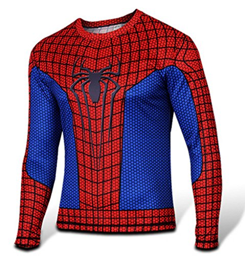 The Amazing Spider-Man 2 Cosplay Red and Blue Long-Sleeved T-shirt Newly Costume(M)