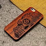 LINFA Retro Nature Wood Case for Apple iPhone 5SSE 6 6S 7 7P Cover Wooden Cases (iPhone 7 Plus, skull head)