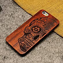 LINFA Retro Nature Wood Case for Apple iPhone 5SSE 6 6S 7 7P Cover Wooden Cases (iPhone 7, skull head)