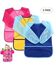 Pawaca Kids Art Smocks, 3 Pack Waterproof Children Painting Aprons Long Sleeve with 3 Pockets for Art, Craft, Cooking and Lab Activity, Age 3-8 Years