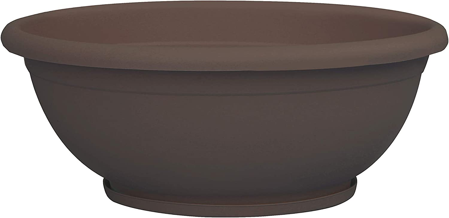 "TABOR TOOLS Plastic Planter Bowl, Garden Bowl for Indoor and Outdoor Use, Round. VEN302A. (12"", Chocolate Brown)"