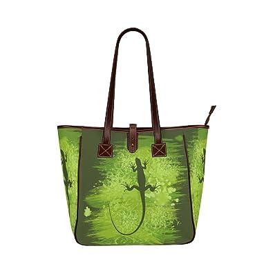 49b46e7da Amazon.com: Interestprint Custom Classic Women Top Handbag Green Lizard  Shape Painting Dark Green Classic Tote Bag: Shoes