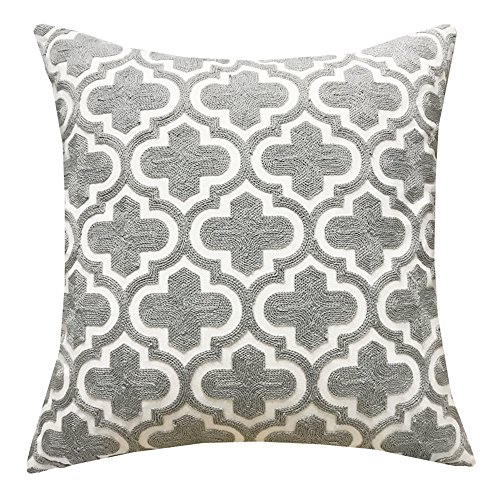 SLOW COW Cotton Embroidered Cushion Cover Grey Quatrefoil Throw Pillow Cover, 18x18 (Art Deco Iron)
