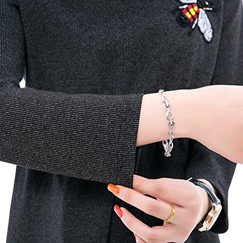 Women Dress Dress Autumn Backing Embroidery Casual NiSeng Gray Bee Black Long And Loose Dress Size Big Winter Knitting Sleeve S4wdIq