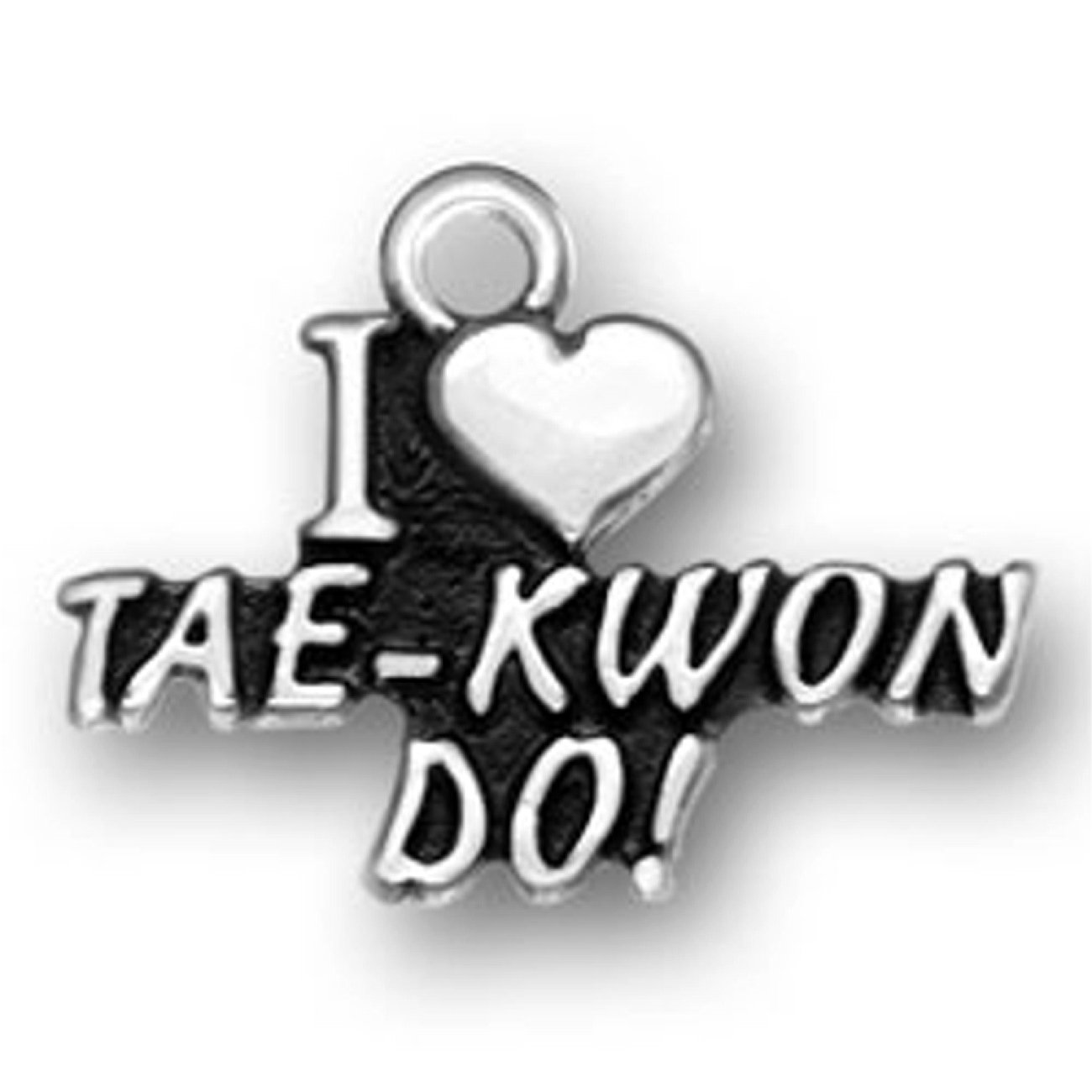 Sterling Silver Girls .8mm Box Chain I Heart Love Tae-Kwon-Do Pendant Necklace