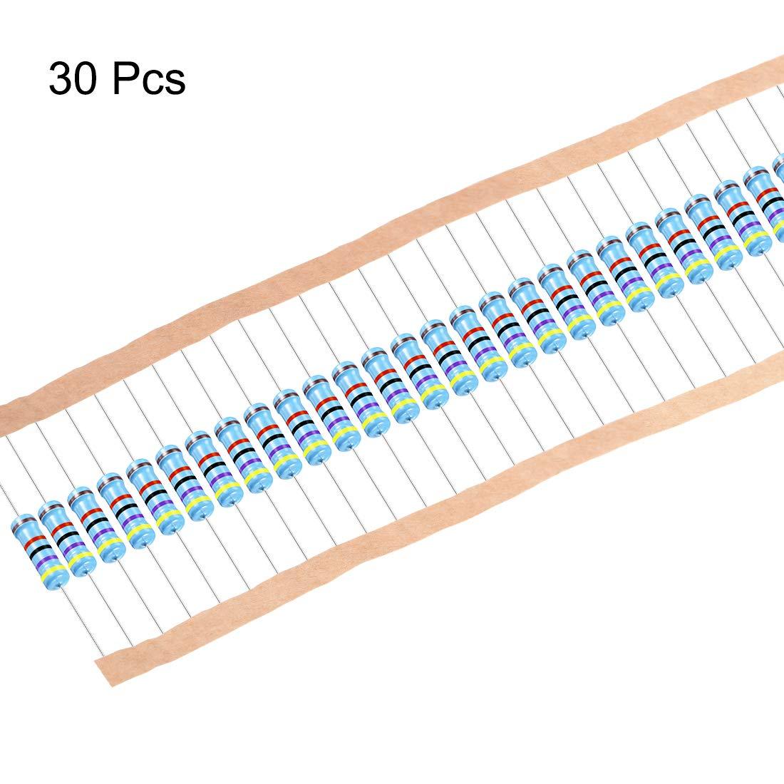 sourcing map 30 pzas Resistencias de pel/ícula met/álica de de 47K OHM 2W 1/% Tolerancias 5 bandas de color