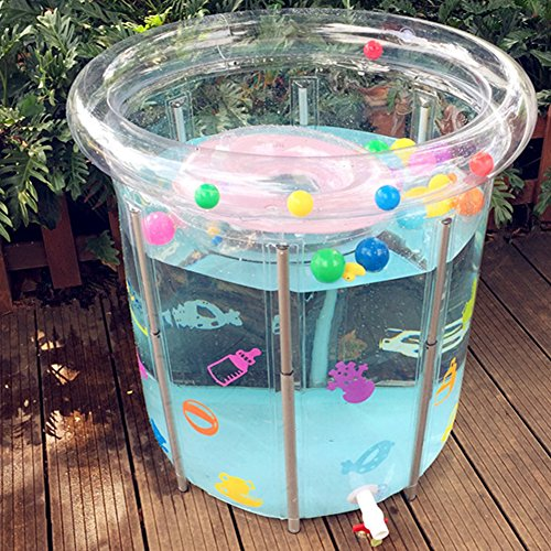 OLizee Folding Baby Swimming Pool with Neck Ring Metal Frame Inflatable Transparent Baby Bathtub Bath Bucket