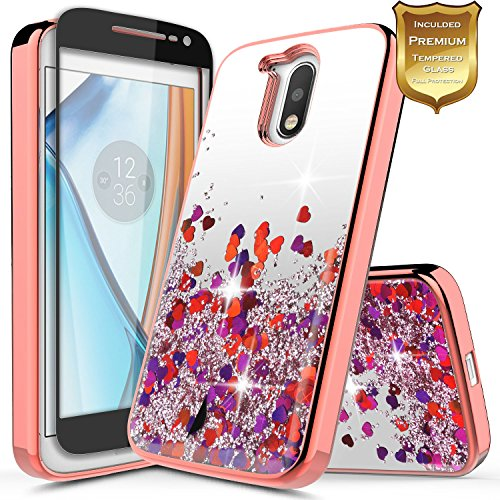 Moto G4 Case w/[Full Cover Tempered Glass Screen Protector], NageBee Glitter Liquid Quicksand Waterfall Flowing Sparkle Shiny Bling Girls Cute Case for Motorola Moto G 4th Gen - Electroplate Rose Gold