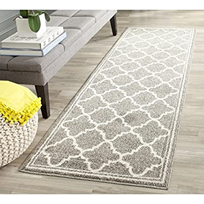 "Safavieh Amherst Collection AMT422R Dark Grey and Beige Indoor/ Outdoor Runner (2'3"" x 7') - Stunning polypropylene fibers make this rug soft and luxurious to the touch The power loomed construction adds durability to this rug, ensuring it will be a favorite for many years The modern, geometric pattern of this rugs will give your room a fresh accent - runner-rugs, entryway-furniture-decor, entryway-laundry-room - 61ny3ul8vCL. SS400  -"
