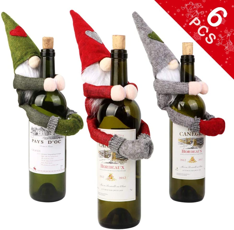 OurWarm 6pcs Christmas Gnomes Wine Bottle Cover Santa, Handmade Swedish Tomte Plush Gnomes Wine Bottle Toppers for Home Holiday Christmas Decorations