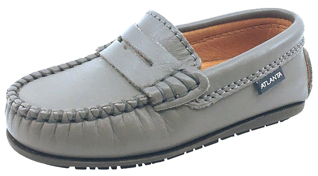 Atlanta Mocassin Boy's & Girl's Grey Smooth Slip On Moccasin Penny Loafer Shoe 28 M EU/11 M US Little Kid