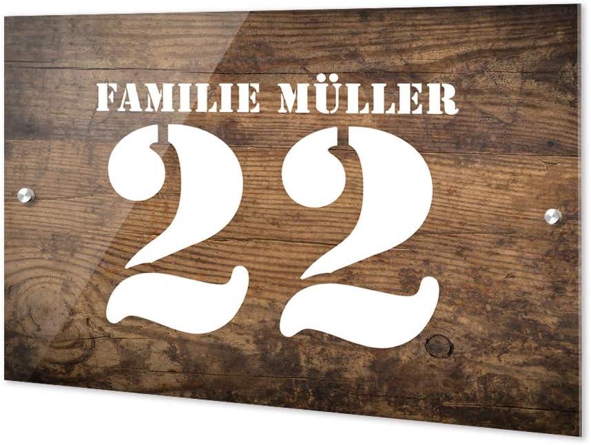 Haust/ürschild Sch/önes Motiv // 21x15cm Geschenk zum Einzug Namensschild Haust/ür Villa Familie Kunterbunt GRAZDesign Personalisierte T/ürschilder