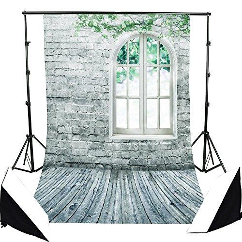 5x7ft Photography Background Brick Wall Window Pattern Photography Backdrop Wedding Hholiday Studio -