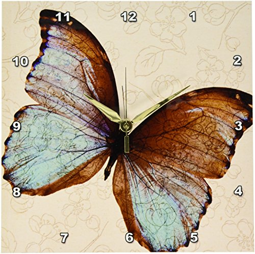 Butterfly Floral Clock - 3dRose dpp_110237_1 Pretty Butterfly Floral Art-Wall Clock, 10 by 10-Inch