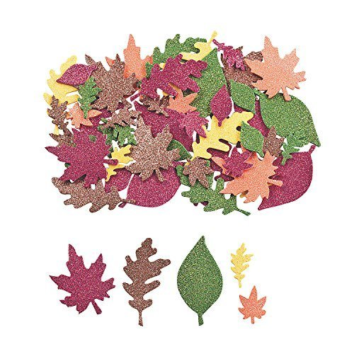 100 ~ Fall Leaf Glitter Foam Stickers ~ New ~ Autumn Leaves by FX