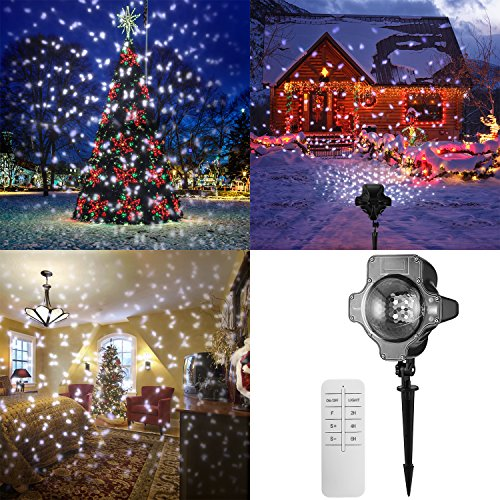 Snowfall Outdoor Led Christmas Lights Displays Projector Show Waterproof Rotating Projection Snowflake Lamp with Wireless Remote for Xmas Halloween Party Wedding and Garden Decorations by BEIYI HOME-US (Image #7)