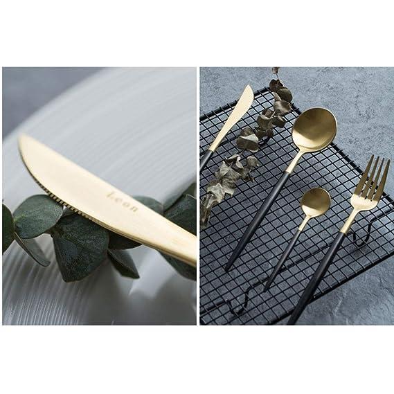 Juego de Cubiertos de Oro Negro de Portugal Occidental 304 Acero Inoxidable (tamaño : 2): Amazon.es: Hogar