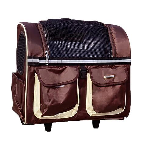 Bolsa de transporte para mascotas, mochila de viaje con ruedas para perro, gato,