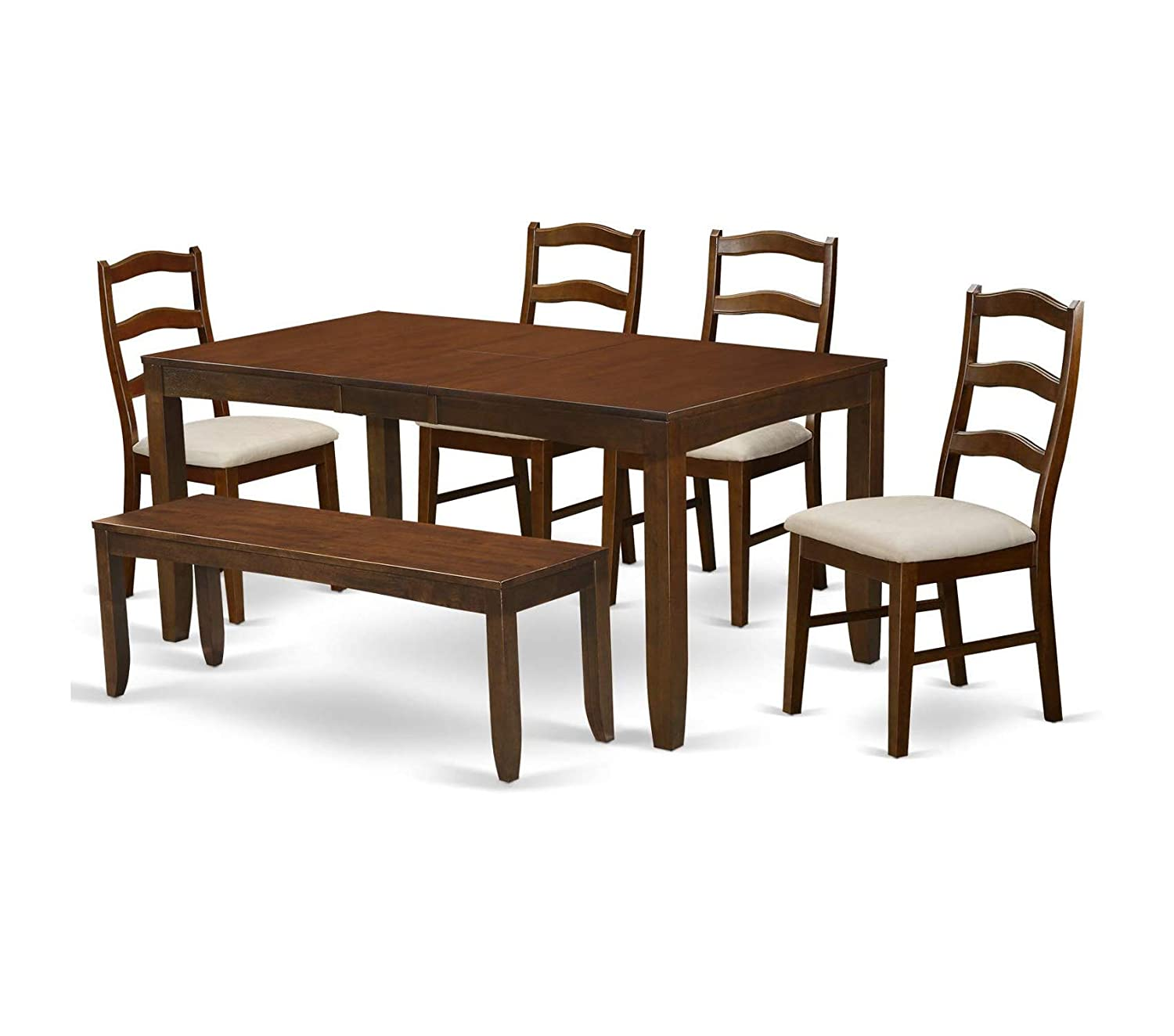 """Deluxe Premium Collection 6 Piece Set Lynfield Dining Table with One 12"""" Leaf and 4 Padded Seat Chairs Plus Bench in Espresso Decor Comfy Living Furniture"""