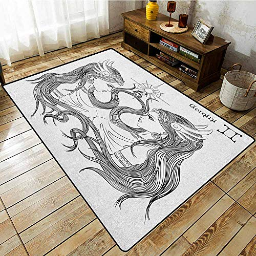 Outdoor Patio Rug,Zodiac Gemini,Line Art Style Ladies with Long Hair Looking at Each Other Esoteric Art,Machine-Washable/Non-Slip Black and White
